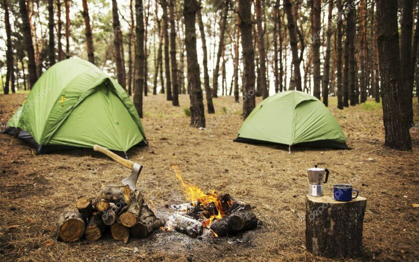 depositphotos 152972034 stock photo camping in the forest preparation